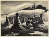 THOMAS HART BENTON (American 1889-1975) Loading Corn, 1945 Lithograph Associated American Artists