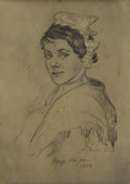 Fine Art - Painting, American:Modern  (1900 1949)  , Attributed to NATHANIEL J. POUSETTE-DART (American 1886-1965).Portrait of a Young Woman, 1938. Pencil with white height...