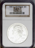 Modern Issues: , 1993-P $1 Jefferson Silver Dollar MS70 NGC. NGC Census: (331/0).PCGS Population (105/0). Mintage: 266,927. Numismedia Wsl....
