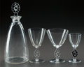 Glass, R. LALIQUE THIONVILLE PART SERVICE, Circa 1924. Carafe, 4 bourgogne stems, 1 madere stem with black ... (Total: 9 Items)