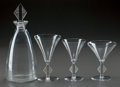 Glass, R. LALIQUE SAVERNE PART SERVICE, Circa 1924. Carafe, 1 water stem, 2 bourgogne stems, 4 champagne st... (Total: 9 Items)