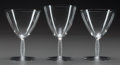 Art Glass:Lalique, R. LALIQUE DORNACH, Circa 1927. 2 champagne stems, 1 waterstem.. M p. 838, No. 5133, 5136. Ht. 5-3/8 in.. ... (Total:3 Items)