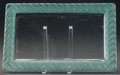 Glass, R. LALIQUE RUBANS RECTANGULAR PLATEAU WITH GREEN PATINA, Circa 1936. M p. 800, No. 3690. L. 15-1/2 in.. ...
