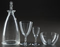 Art Glass:Lalique, R. LALIQUE GUEBWILLER PART SERVICE, Circa 1926 .Carafe, 4 bourgogne stems, 2 madere stems, 1 bowl.... (Total: 9Items)