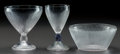 Art Glass:Lalique, R. LALIQUE VIGNE STRIÉ, Circa 1920. 1 madere stem with bluepatina, 1 bowl with gray patina. 1 champagne stem.. ... (Total: 3Items)