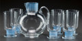 Art Glass:Lalique, R. LALIQUE CHINON SERVICE WITH BLUE PATINA, Circa 1930.Broc, 6 water stems.. M p. 846, No. 5235, ... (Total: 7Items)