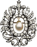 Estate Jewelry:Brooches - Pins, Antique Cultured Pearl, Diamond, Silver-Topped Gold Pendant-Brooch....