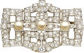 Estate Jewelry:Brooches - Pins, Art Deco Diamond, Cultured Pearl, Platinum Brooch. ...