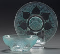 Art Glass:Lalique, R. LALIQUE VASES NO. 4 WITH BLUE PATINA, Circa 1921. Bowl and underplate.. M p. 702 & 750, No. 3219, 3021. ... (Total: 2 Items)
