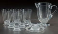 Art Glass:Lalique, R. LALIQUE RICQUEWIHR PART SERVICE, Circa 1925 . Broc, 6whisky soda glasses, bowl and under plate.. M p. 704,... (Total:9 Items)