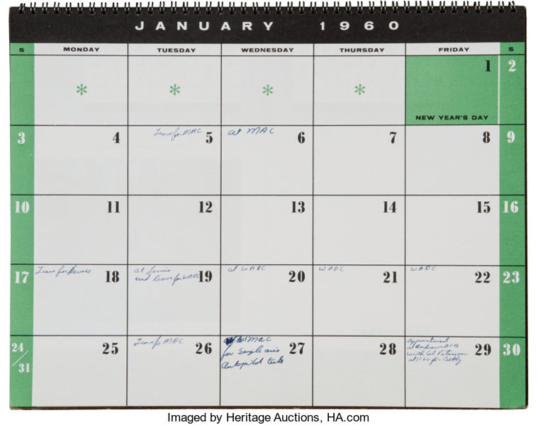 1960 Calendar.Gus Grissom S Personally Owned And Used 1960 Appointment Calendar