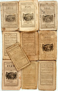 Books:Americana & American History, [Almanacs] Group of Ten Miscellaneous Almanacs. [Variouspublishers, 1787-1820]. Original wrappers. Toned and edgeworn.Some... (Total: 10 Items)