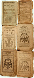 Books:Americana & American History, [Almanacs] Group of Six Miscellaneous Almanacs. [Variouspublishers, 1791-1806]. Original wrappers. Toned and edgeworn.Some... (Total: 6 Items)