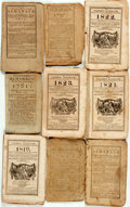 Books:Americana & American History, [Almanacs] Group of Nine Miscellaneous Almanacs. [Variouspublishers, 1781-1823]. Original wrappers. Toned and edgeworn.Som... (Total: 9 Items)