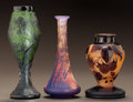 Art Glass:Other , THREE FRENCH OVERLAY GLASS CABINET VASES. Circa 1920. Cameodevez; D'argental with the cross of Lorraine;engraved ... (Total: 3 Items)