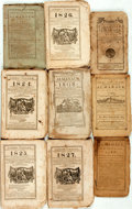 Books:Americana & American History, [Almanacs] Group of Nine Miscellaneous Almanacs. [Variouspublishers, 1788-1827]. Original wrappers. Toned and edgeworn.Som... (Total: 9 Items)