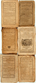 Books:Americana & American History, [Almanacs] Group of Six Miscellaneous Almanacs. [Variouspublishers, 1789-1817]. Original wrappers. Toned and edgeworn.Some... (Total: 6 Items)
