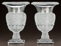 Art Glass:Lalique, PAIR OF LALIQUE CLEAR AND FROSTED GLASS VERSAILLES VASES.Post 1945. Engraved Lalique, France. Ht. 13-3/4 in...(Total: 2 Items)
