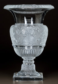 A LALIQUE CLEAR AND FROSTED GLASS VERSAILLES VASE Post 1945. Engraved Lalique