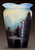 Art Glass:Galle, GALLÉ OVERLAY GLASS LANDSCAPE VASE. Circa 1900. Cameo Gallé.Ht. 5-1/4 in. . ...