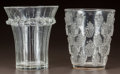 Glass, R. LALIQUE CLEAR GLASS MALAGA LAVE-RAISINS AND BOULOURIS VASE. Circa 1933. Both stenciled R. LALIQUE... (Total: 2 Items)