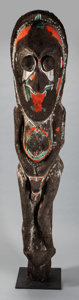 Tribal Art, Ambrym Island, (Vanuatu). Rare janus grade figure. Mid-20thcentury. Carved fern, paint. Height: 69 inches. ...