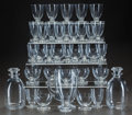 Art Glass:Lalique, R. LALIQUE BOULES, SERVICE, Circa 1935. 2 carafes, broc, 10water stems, 11 madere stems, 11 champagne stems, 1 ... (Total: 36Items)