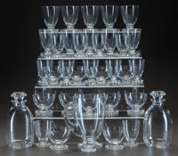 R. LALIQUE BOULES, SERVICE, Circa 1935 2 carafes, broc, 10 water stems, 11 madere