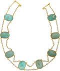 Estate Jewelry:Necklaces, Arts & Crafts Turquoise, Freshwater Pearl, Gold Necklace. ...