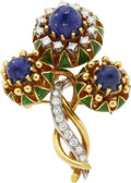 Estate Jewelry:Brooches - Pins, Lapis Lazuli, Diamond, Enamel, Gold Brooch, La Triomphe. ...