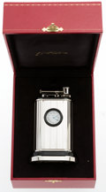 Luxury Accessories:Home, Cartier Limited Edition Sterling Silver Table Clock and Lighter....