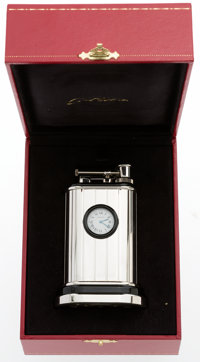 Cartier Limited Edition Sterling Silver Table Clock and Lighter