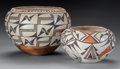 American Indian Art:Pottery, TWO ACOMA POLYCHROME JARS. c. 1950...