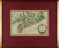 Books:Maps & Atlases, [Featured Lot] [Maps] Jacques Nicholas Bellin. Original Hand-Colored Engraved Map, Carte De L'Acadie et Pays Voisins. ...
