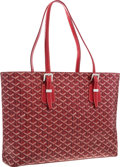 "Luxury Accessories:Accessories, Goyard Red Goyardine Canvas Marie Galante Tote Bag . Very GoodCondition . 18"" Width x 11.5"" Height x 4"" Depth . ..."