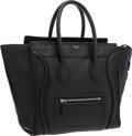 "Luxury Accessories:Bags, Celine Black Leather Luggage Tote Bag. Excellent Condition .12"" Width x 11"" Height x 7"" Depth . ..."