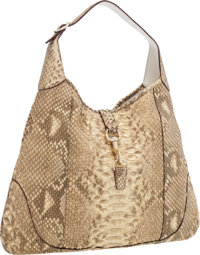 "Gucci Natural Metallic Python Jackie Shoulder Bag Very Good Condition 17"" Width x 13"" Height x 2"""