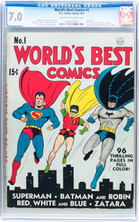 World's Best Comics #1 (DC, 1941) CGC FN/VF 7.0 Off-white to white pages