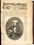 Books:Periodicals, [Newspaper] Harper's Weekly. Twelve volumes, spanning theyears 1861-1870, with duplicates and some lacking. 1960s r...(Total: 13 Items)