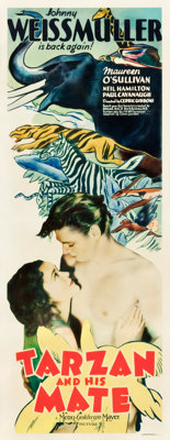 "Tarzan and His Mate (MGM, 1934). Insert (14"" X 36"")"