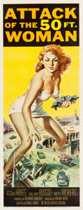 "Movie Posters:Science Fiction, Attack of the 50 Foot Woman (Allied Artists, 1958). Insert (14"" X36"").. ..."