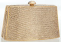 Luxury Accessories:Bags, Judith Leiber Full Bead Gold Crystal Minaudiere Evening Bag . ...