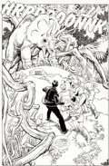 Original Comic Art:Splash Pages, Gil Kane and George Perez Jurassic Park #3 Splash Page 1Original Art (Topps Comics, 1993)....