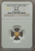 California Fractional Gold , 1855/4 25C Liberty Octagonal 25 Cents, BG-106, R.3, MS66 NGC....