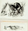 """Books:Original Art, [Original Art]. Ray Houlihan. Pair of Original Sketches for """"Graves and Grizzlies"""" Article. Published in June 1967 issue of ..."""