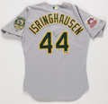 Baseball Collectibles:Uniforms, 2000 Jason Isringhausen Game Worn, Signed Oakland A's Jersey Wornin All-Star Game. ...