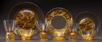 A REMARKABLY COMPLETE MARIENTHAL TABLE SERVICE IN AMBER GLASS, Circa 1927