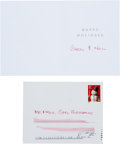 Autographs:Celebrities, Neil Armstrong Signed 2003 Christmas Card with Hand-AddressedEnvelope.... (Total: 2 )