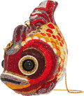 "Luxury Accessories:Bags, Judith Leiber Full Bead Red & Gold Crystal Koi Fish MinaudiereEvening Bag. Excellent Condition. 5"" Width x 6"" Height..."