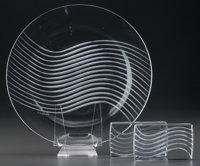 THREE R. LALIQUE CLEAR AND FROSTED GLASS LEDA TABLE PIECES, ci... (Total: 3)